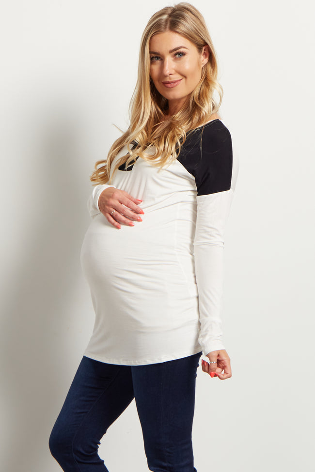White Black Colorblock Long Sleeve Top