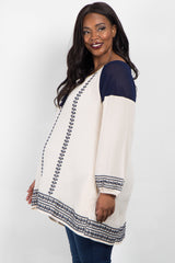Ivory Navy Blue Embroidered Plus Size Maternity Tunic