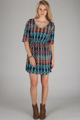 Teal Multi-Colored Abstract Diamond Print 3/4 Sleeve Maternity Dress