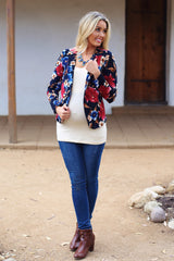 Navy Blue Floral Textured Maternity Blazer