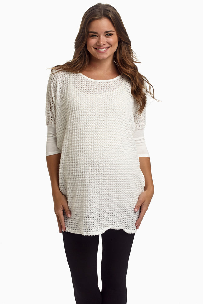 White Basic Knit Dolman Sleeve Maternity Top