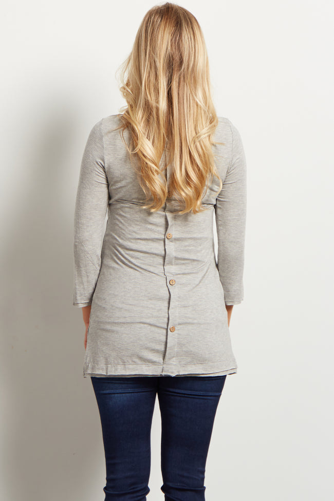 Grey Basic Button Back 3/4 Sleeve Maternity Top