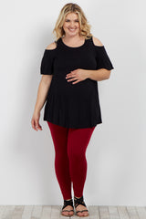 Burgundy Fleece Lined Plus Maternity Leggings
