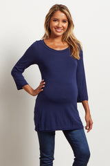 Navy Blue Basic Button Back 3/4 Sleeve Maternity Top