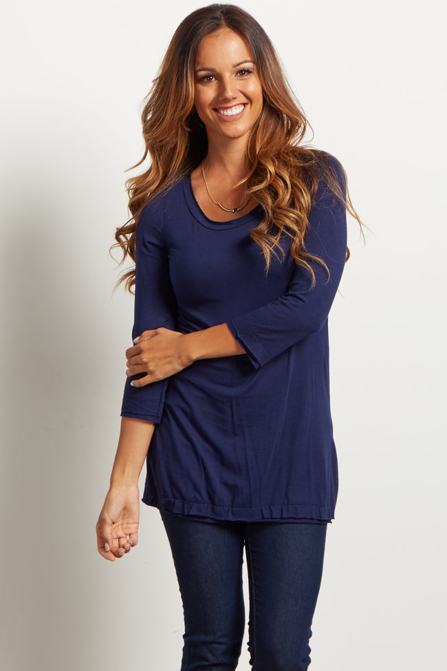 Navy Blue Basic Button Back 3/4 Sleeve Top