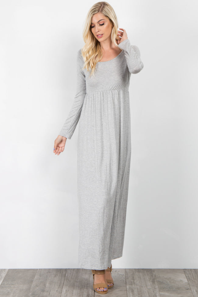 Grey Long Sleeve Basic Maternity Maxi Dress