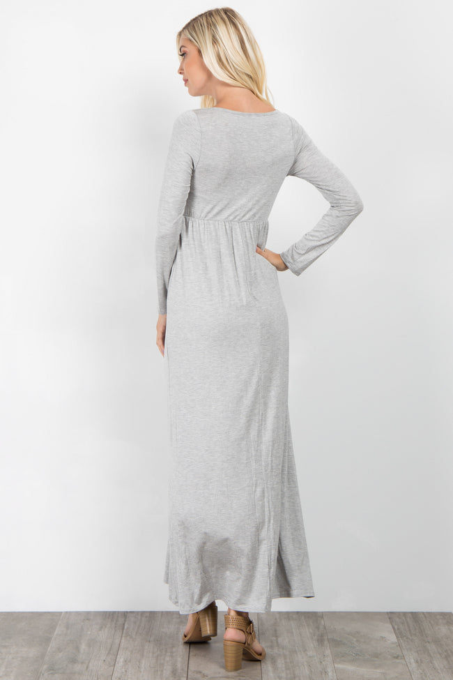 Grey Long Sleeve Basic Maxi Dress