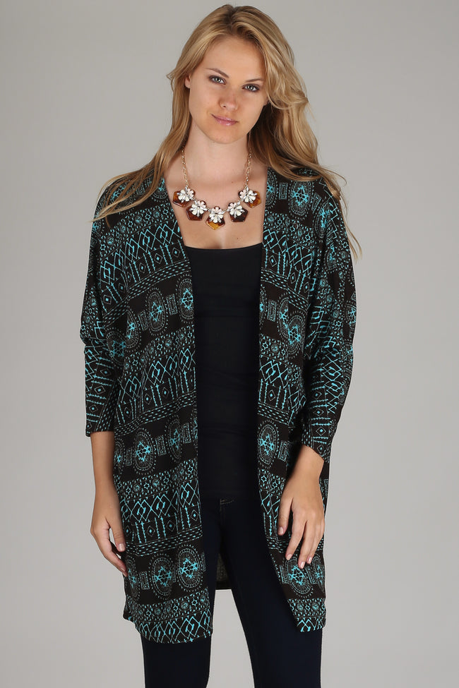 Black Aqua Printed Dolman Sleeve Long Cardigan