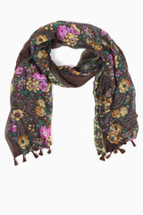 Brown Yellow Pink Floral Printed Scarf