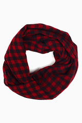 Red Black Printed Infinity Scarf