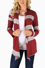 Burgundy Grey Striped Colorblock Maternity Cardigan