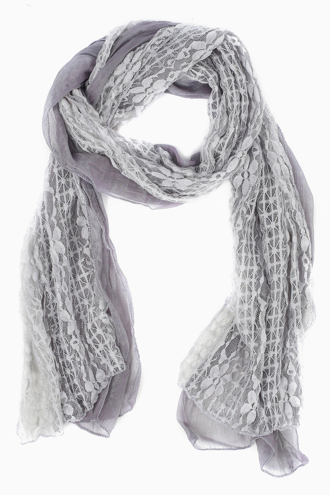 Grey Floral Lace Scarf