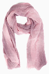 Pink Purple Plaid Printed Scarf