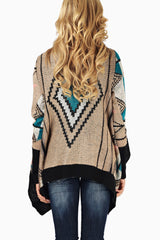 Mocha Teal Black Tribal Printed Knit Maternity Cardigan