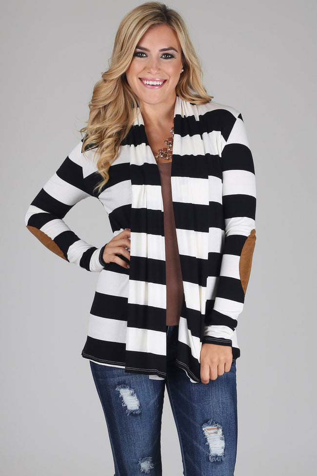 Black White Wide Striped Suede Elbow Patch Cardigan