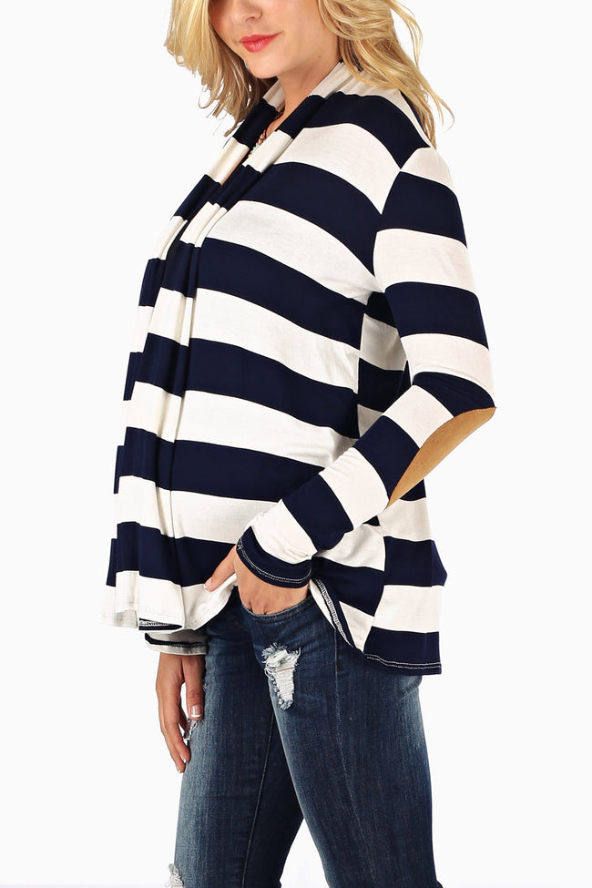 Navy Blue White Wide Striped Suede Elbow Patch Maternity Cardigan