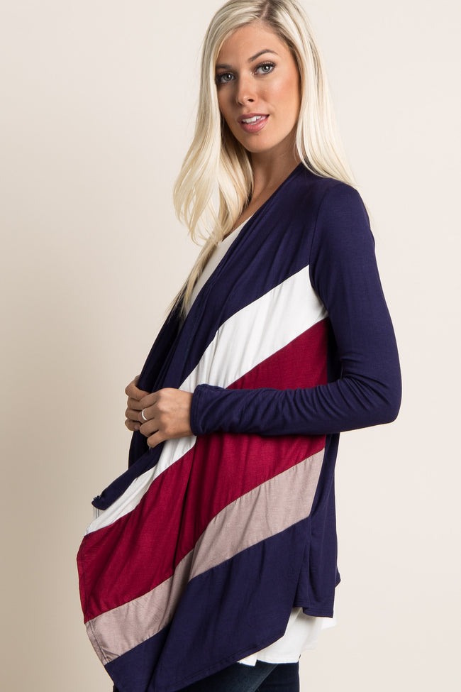Navy Red Mocha Striped Front Maternity Cardigan