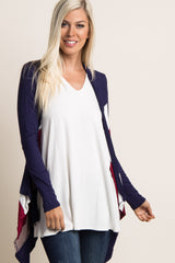 Navy Red Mocha Striped Front Cardigan