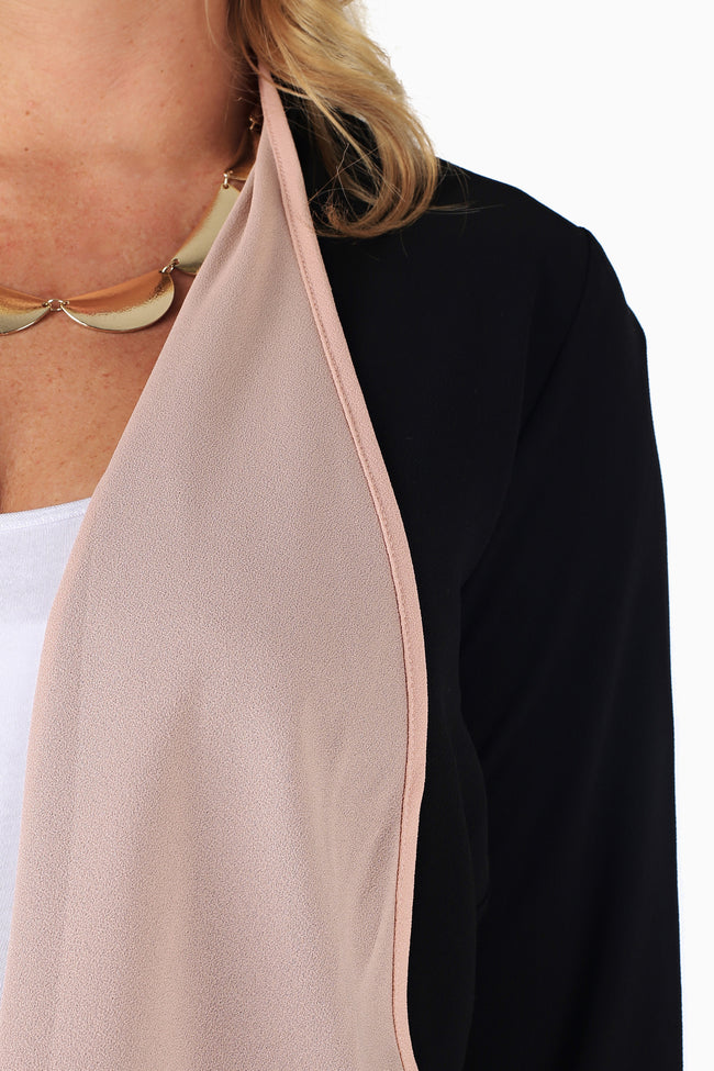Black Pink Textured Maternity Cardigan