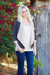 Navy Blue Pink Print Textured Cardigan