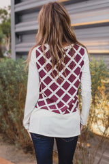 Ivory Burgundy Printed Chiffon Back Top