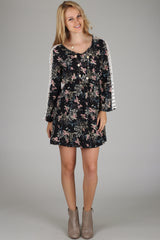 Black Floral Bird Printed Crochet Accent Dress