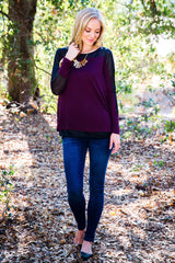 Plum Sheer Accent Long Sleeve Top