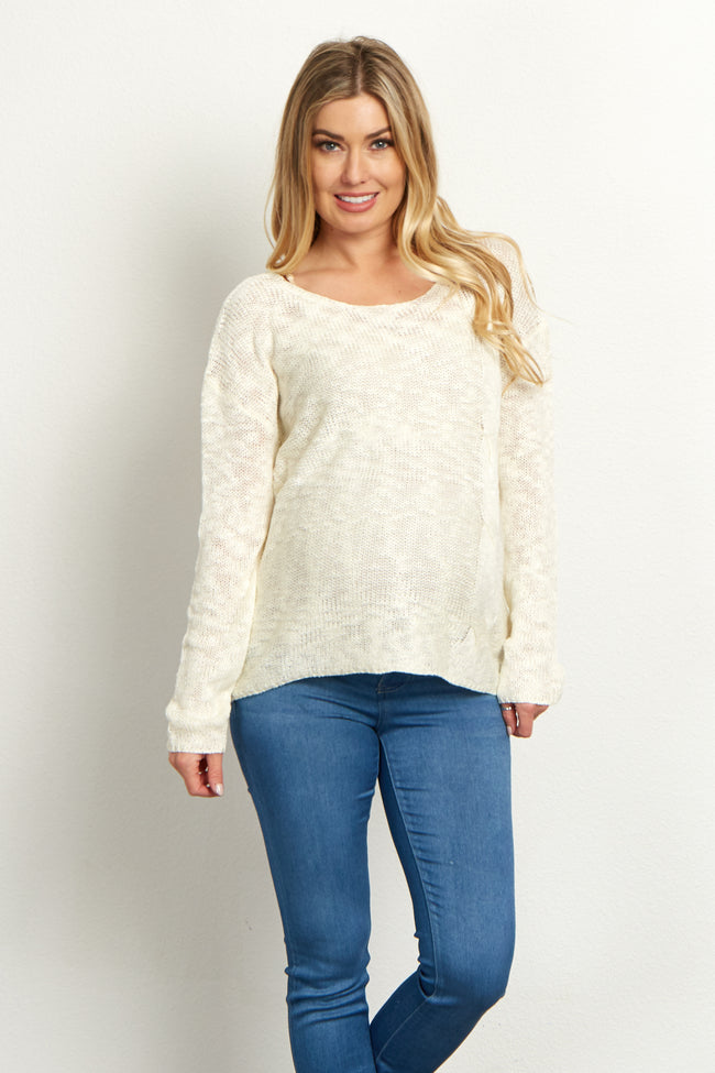 Ivory Cable Knit Maternity Sweater