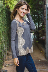 Grey Lace Accent Long Sleeve Top