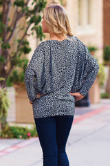 Grey Black Cheetah Print Dolman Sleeve Top