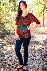 Red Green Black Animal Print Dolman 3/4 Sleeve Maternity Top