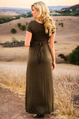Olive Green Draped Maternity/Nursing Maxi Dress