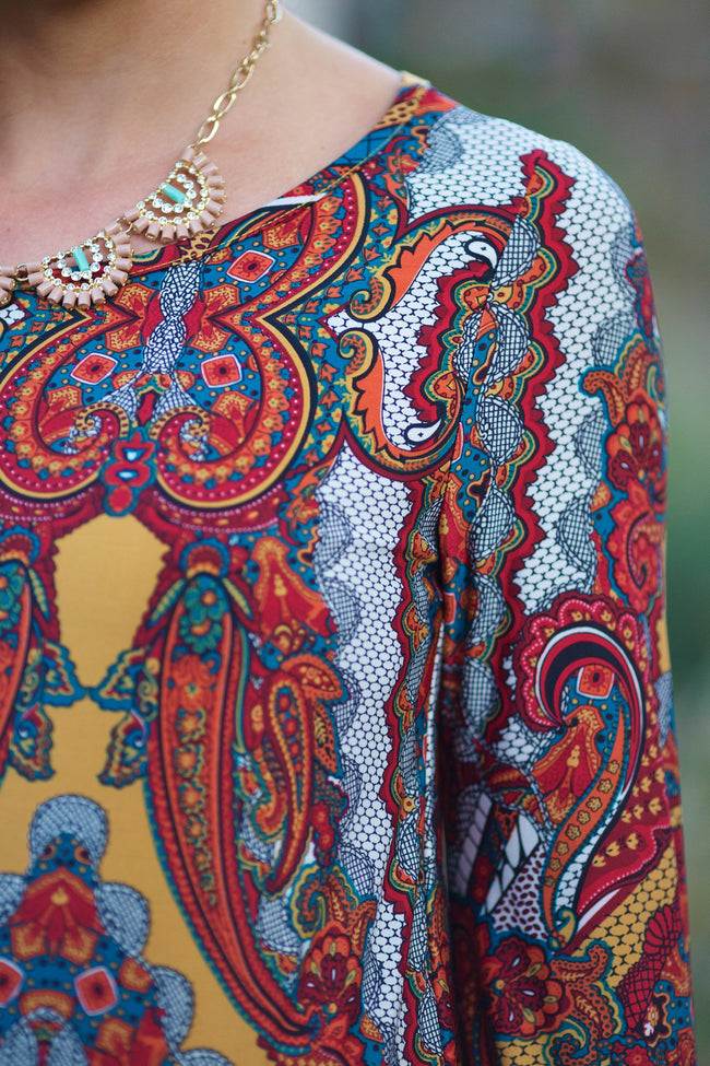 Rust Multi-Colored Paisley Printed Maternity Tunic