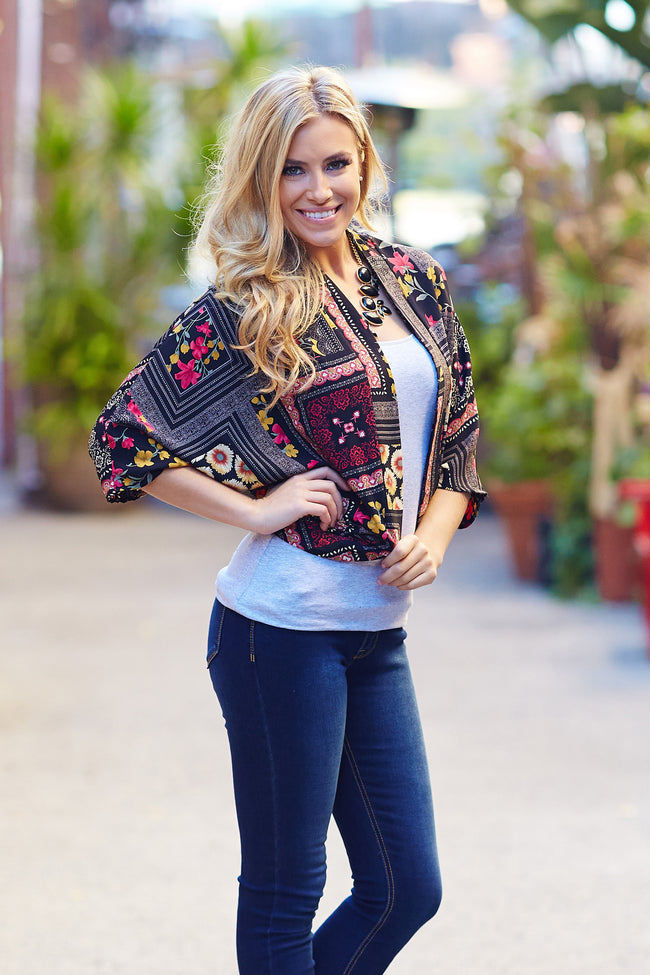 Black Red Yellow Floral Printed Open Cardigan