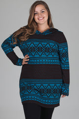 Teal Black Print Hooded Plus Size Maternity Top