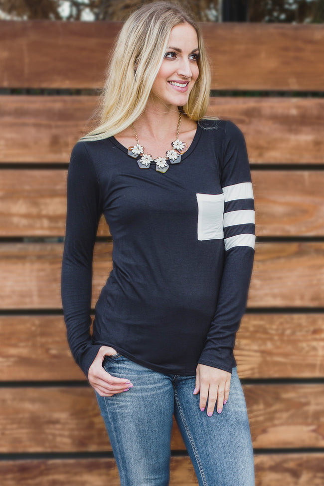 Black White Striped Sleeve Top