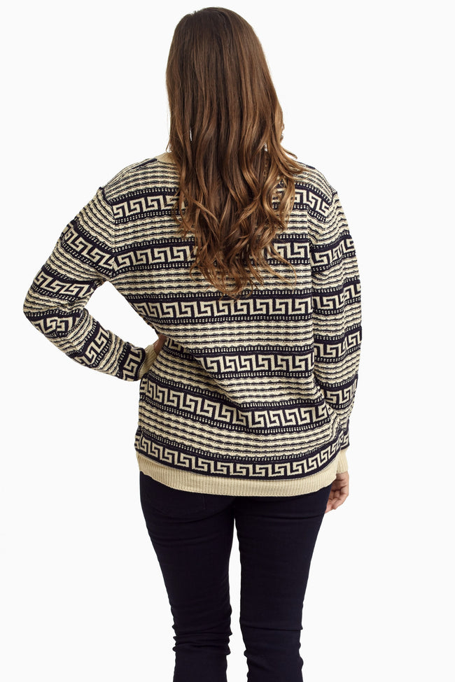 Navy Blue Ivory Printed Knit Sweater
