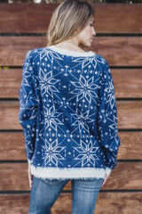 Navy Blue White Snowflake Printed Fuzzy Knit Sweater