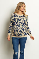 Blue Beige Printed Fuzzy Knit Maternity Sweater