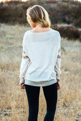 Beige Mocha Striped Sleeve Sweater Top