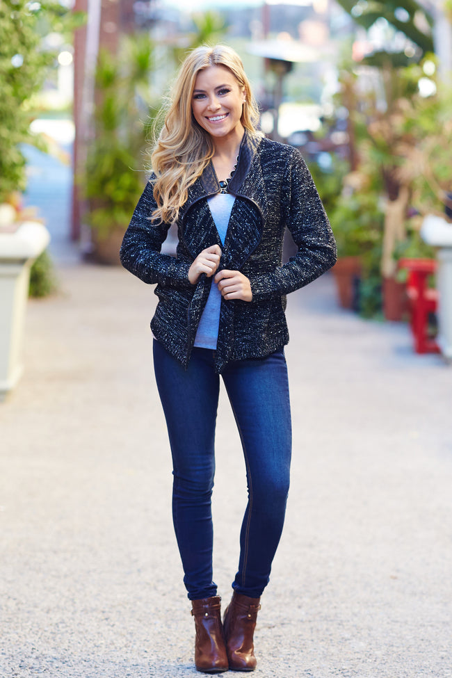 Black Leather Accent Knit Cropped Jacket