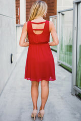 Red Pleated Front Chiffon Dress