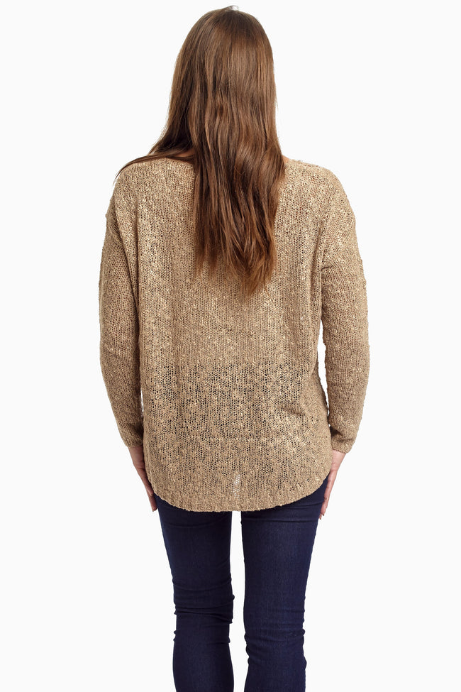 Mocha Diamond Open Knit Sweater