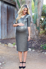 Black Gold Shimmer Fitted Maternity Dress