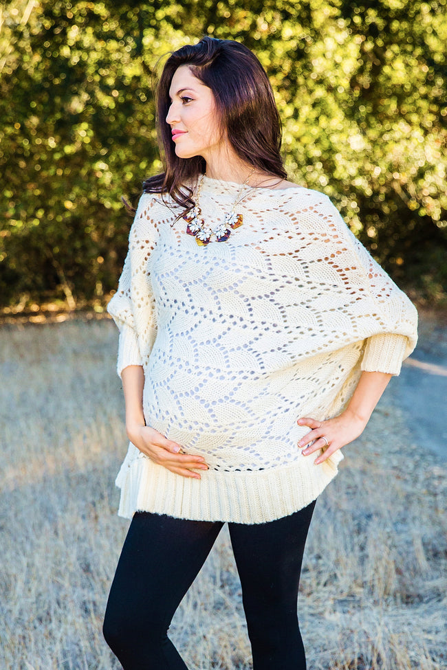 Ivory Open Knit Dolman Sleeve Maternity Tunic