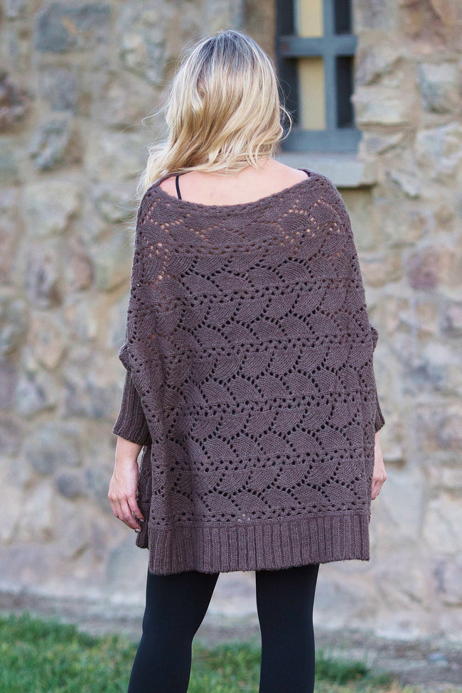 Brown Open Knit Dolman Sleeve Maternity Tunic