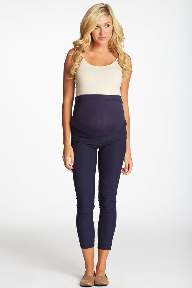 Navy Blue Cropped Maternity Pants