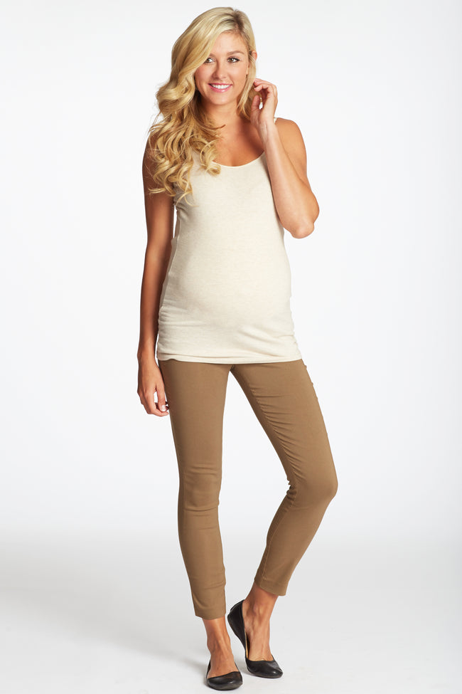 Brown Cropped Maternity Pants
