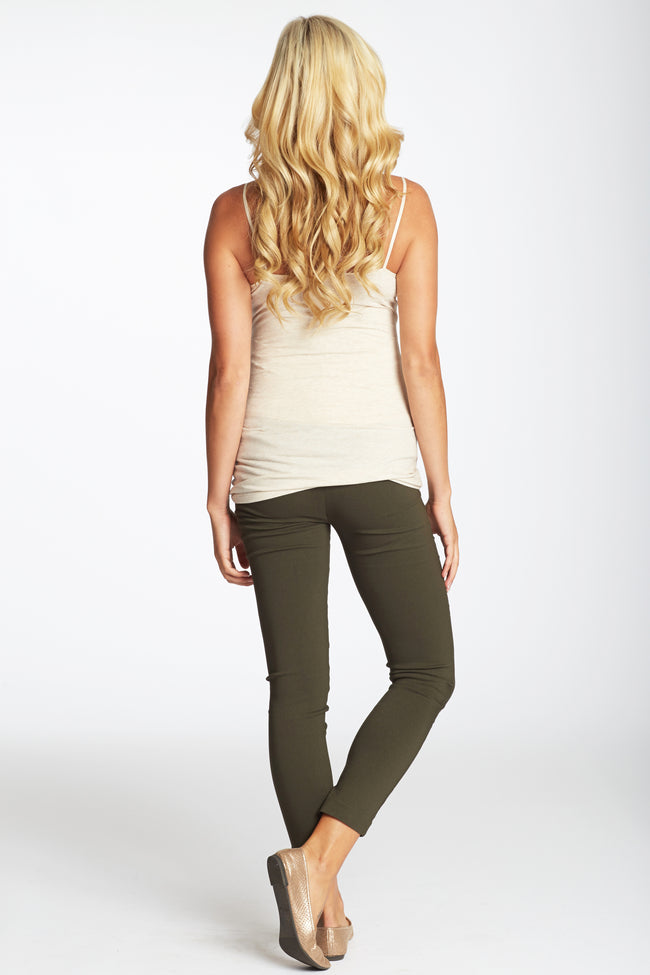 Olive Green Cropped Maternity Pants