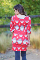 Red Grey Ivory Printed Knit 3/4 Sleeve Maternity Tunic